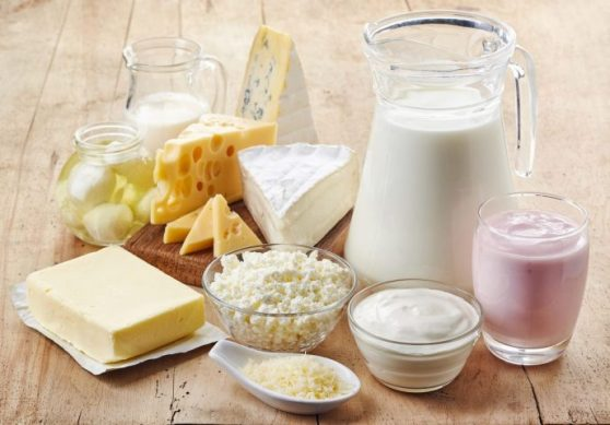 Table filled with various dairy products